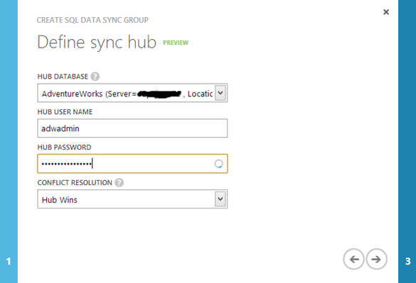 specify one of the databases from the Windows Azure SQL database instance as hub database for this configuration.