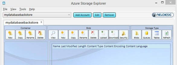 Once you are connected to the Windows Azure Storage account, this is how it should look
