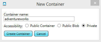 Please specify the name of the container and accessibility type