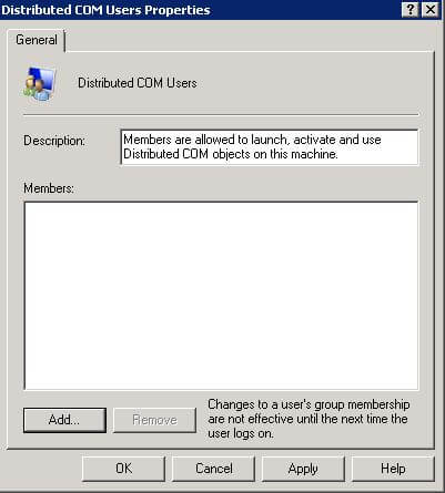 Windows Distributed COM Users Group Properties