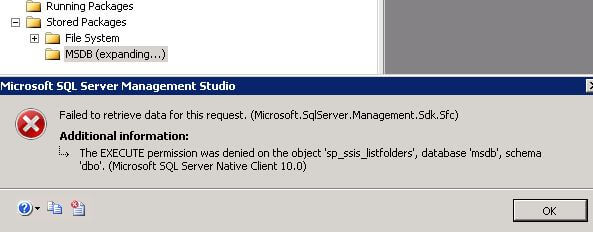 Error Message Accessing SSIS