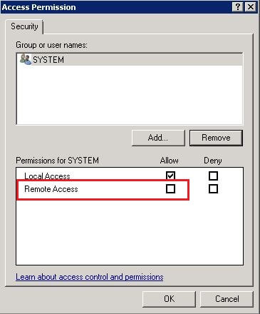 Access Permission for the MsDtsServer DCOM Component