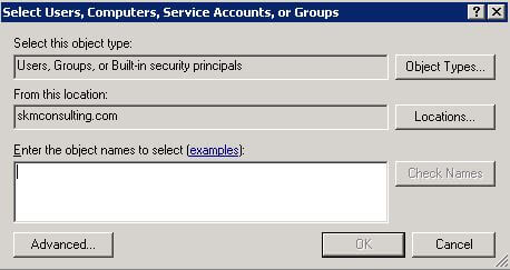 Adding User Account for Required Privileges: Standard Windows Dialog Box