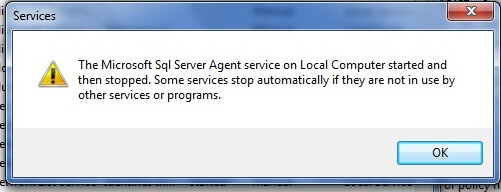 Issue during SQL Agent service restart