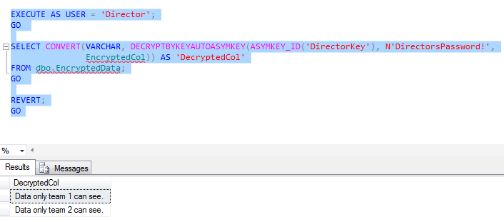 With DecryptByKeyAutoAsymKey(), the user only has to be able to specify the right asymmetric key and it's password