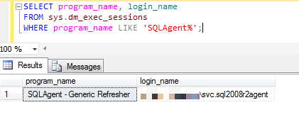 Here's a sample output from a SQL Server installation, the same one that has NT SERVICE\SQLAgent$SQL2008R2