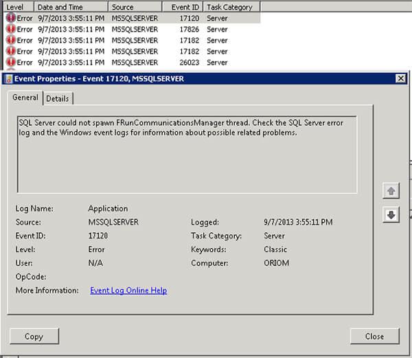 Error Log: SQL Server Could Not Spawn FRunCommunicationsManager Thread