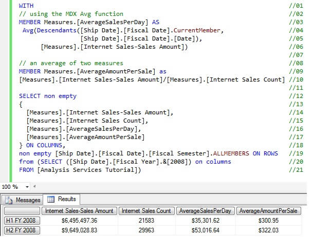 Calculating an average in SQL Server MDX can be accomplished in multiple ways depending on the desired results.