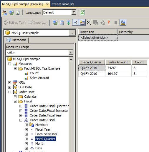 browse the cube in SQL Server Management Studio