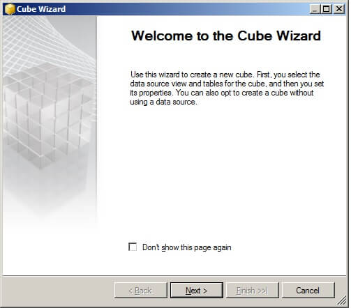 Now we can use the Cube Wizard to create a new cube