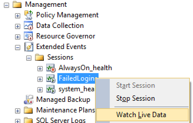 Context menu option for viewing live session data