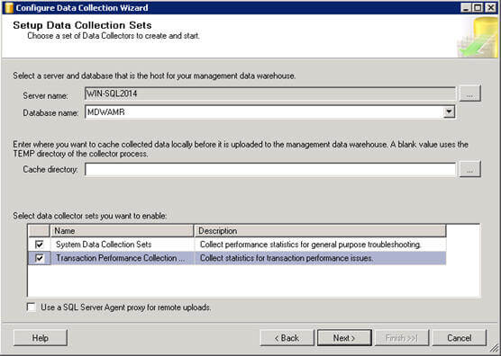 Enable the System Data Collection Sets and Transaction Performance Collection Sets