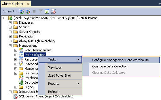 Configure the Management Data Warehouse in SQL Server Management Studio