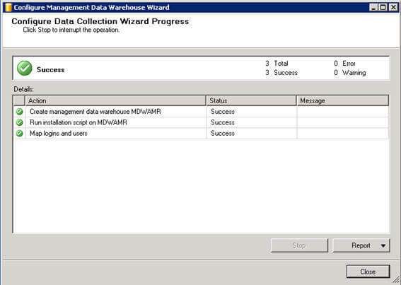 Once management data warehouse is configured successfully, you can see a similar screen