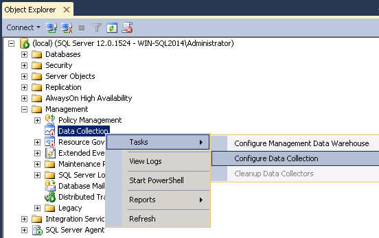 Configure Data Collection in Management Studio