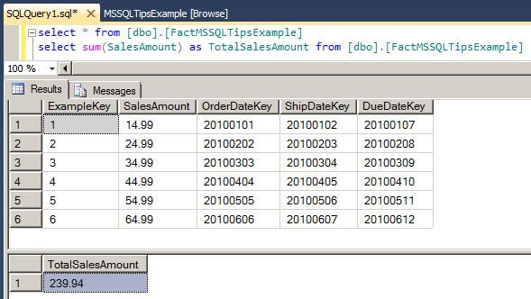 We can also execute a T-SQL query to view the rows