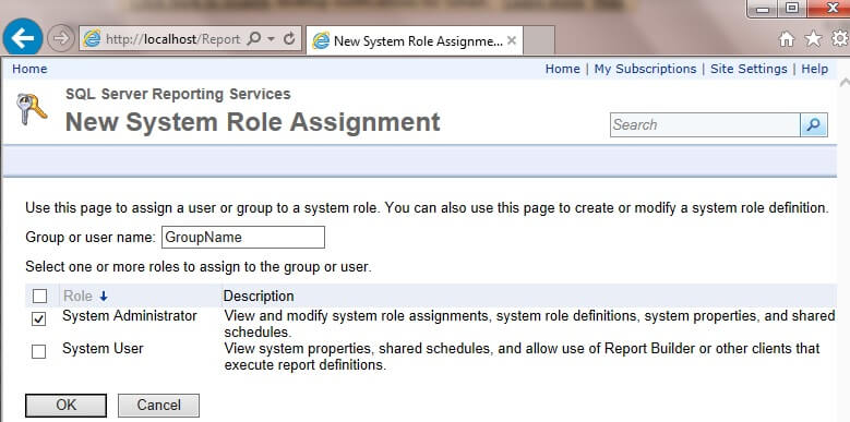 select the System Administrator checkbox