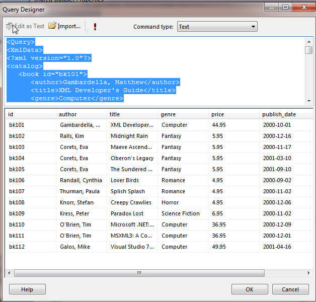 SQL Server Reporting Services XML Data Source and Data Set