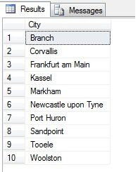let's contrast it against a sample of NON-distinct cities listed in ascending order