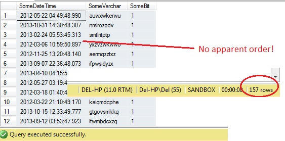 SQL Server helpfully comes with a method of sampling data.