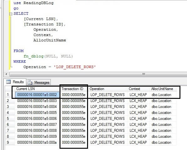 Recover deleted SQL Server data with the Transaction Log and LSNs
