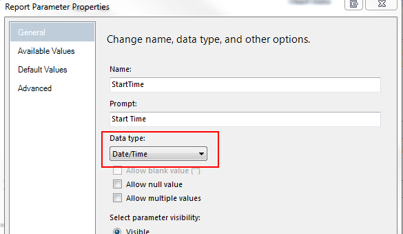 Expand Parameters and double click each parameter and set the Data type as Date/Time