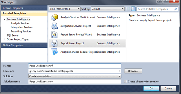 Choose File, New Project. On the New Project dialog choose Report Server Project and name the Project