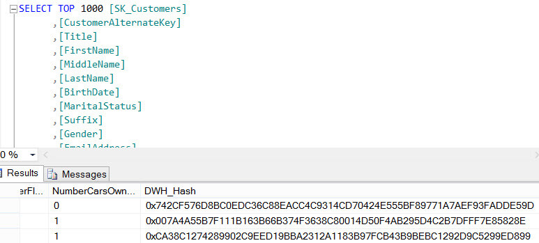 Hashes in the destination table