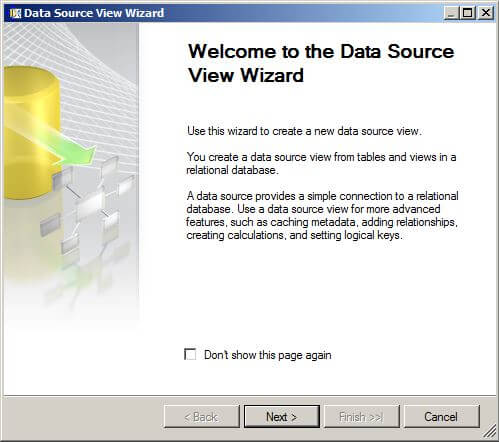 "right-click on the Data Source Views folder and choose ""New Data Source View..."""