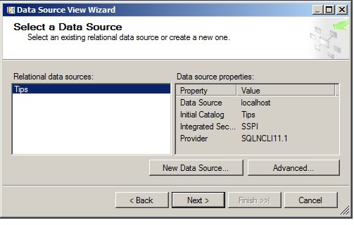 "select the data source we created in the above step. Click on ""Next""."