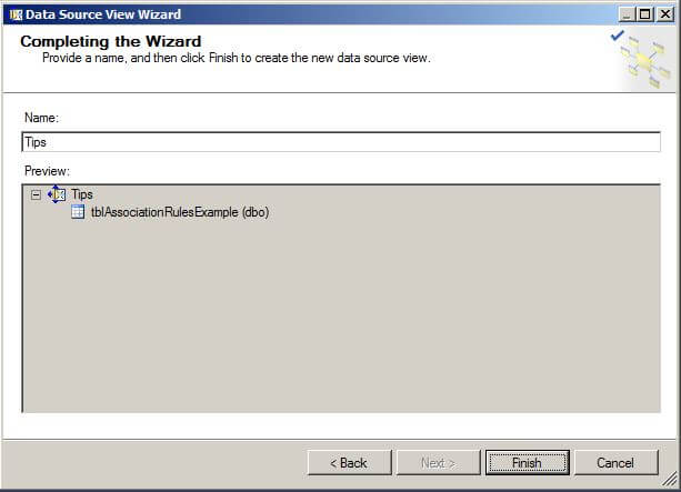 "On the Completing the Wizard page, give the Data Source View a name and click on ""Finish""."