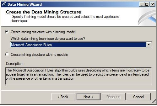 "Choose the ""Microsoft Association Rules"" data mining technique from the drop-down box."