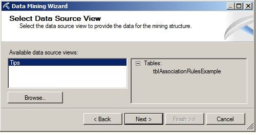 "On the Select Data Source View page, choose ""Tips"""