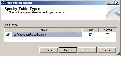 On the Specify Table Types page, make sure the Case box is checked