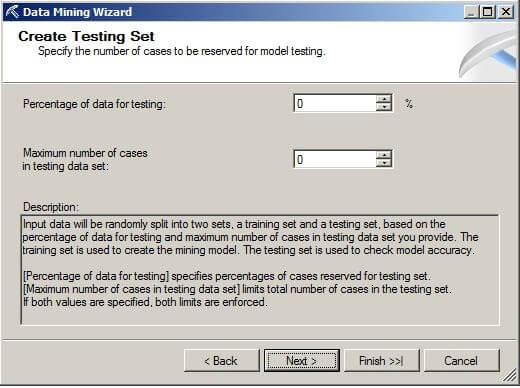 "set the ""Percentage of data for testing"" and ""Maximum number of cases in testing data set"" to zero for this example."