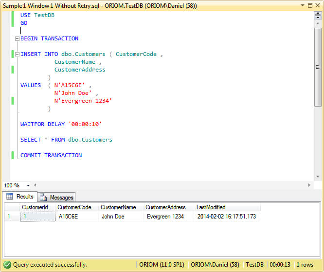 Implementing SQL Server Transaction Retry Logic for failed