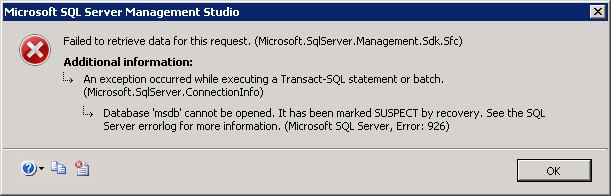 How to recover a suspect msdb database in SQL Server