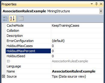 The Visual Studio Properties Window for the Mining Structure.