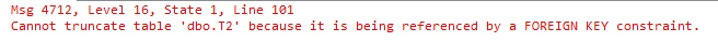 If you attempt to truncate any of the tables you get this error: