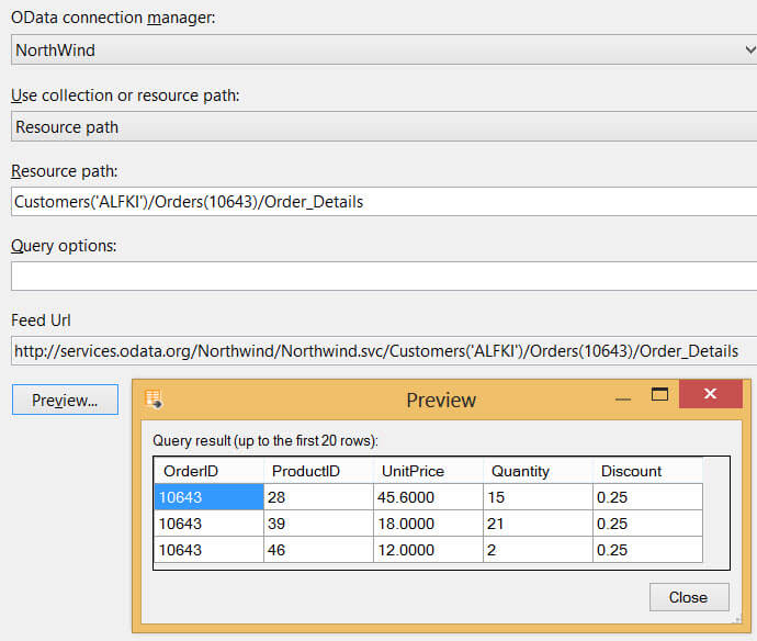 Using the OData Source in SQL Server Integration Services