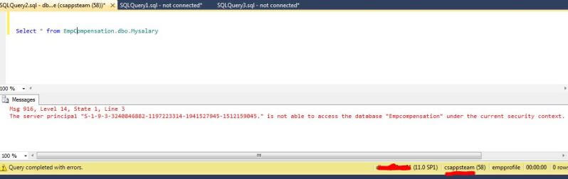 query the cross database EmpCompensation using CsAppsTeam