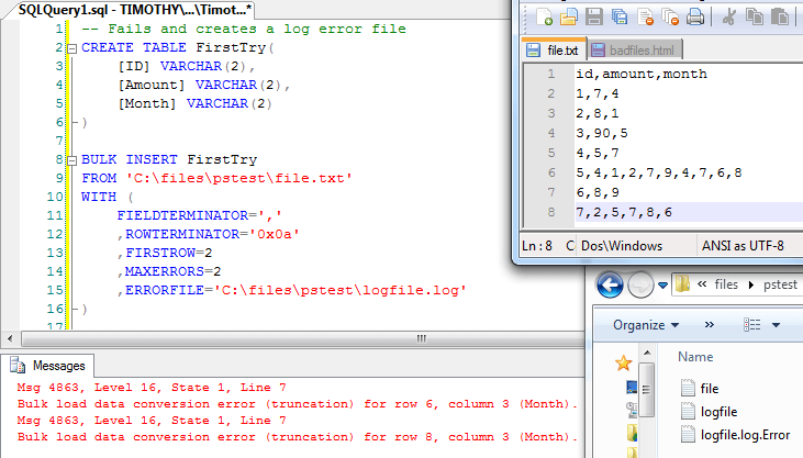 ETL and SQL developers often import files with invalid data in those files.