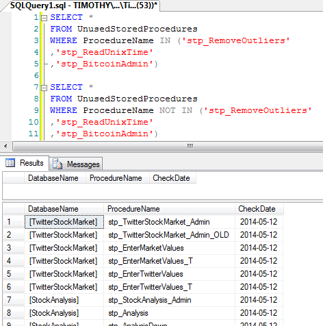 This function skips system databases and procedures, looks through every .sql, .cs, .xml and .ps1 file