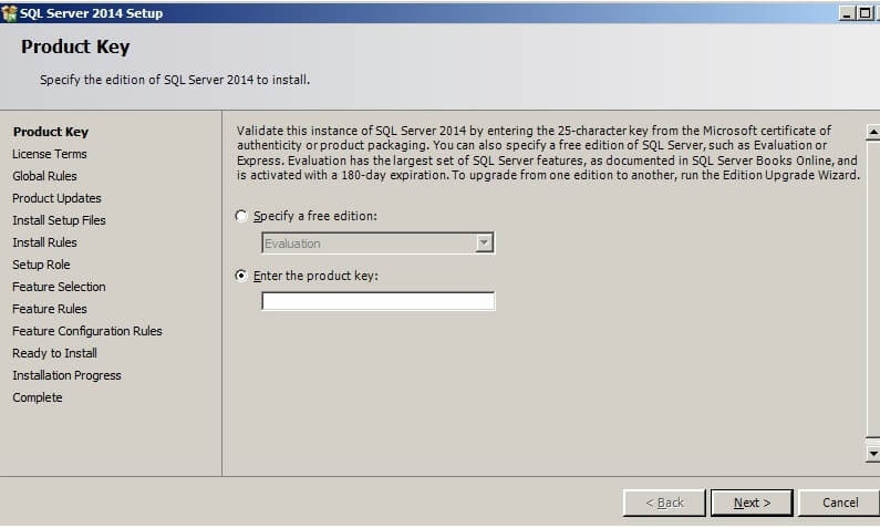 The SQL Server 2014 Setup application lists the steps it will follow on the left wide of the window.