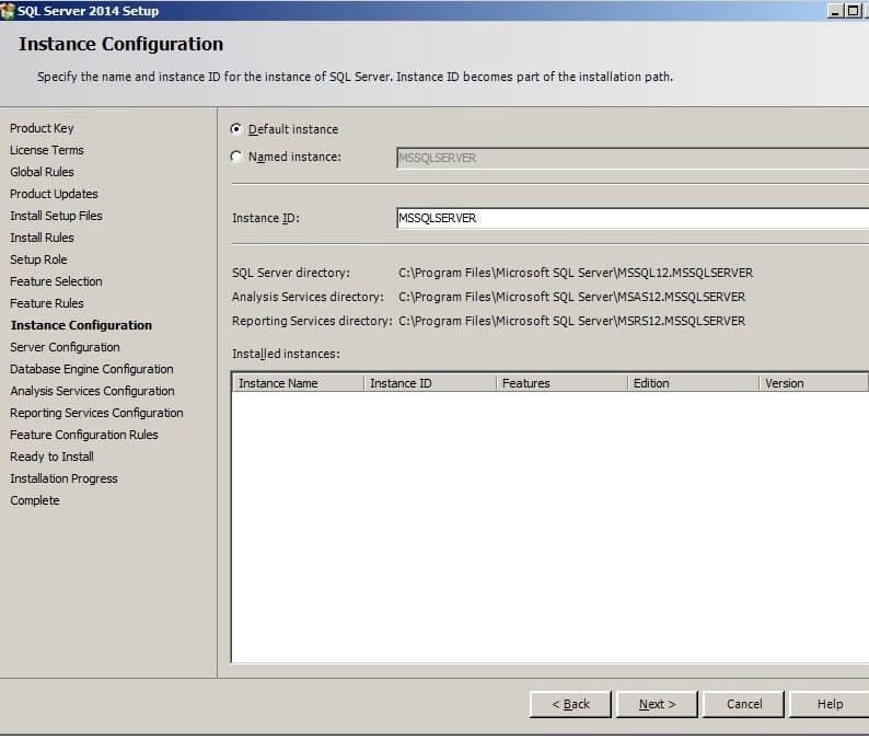 The Instance Configuration screen allows the installer to specify the name of the instance and its ID.