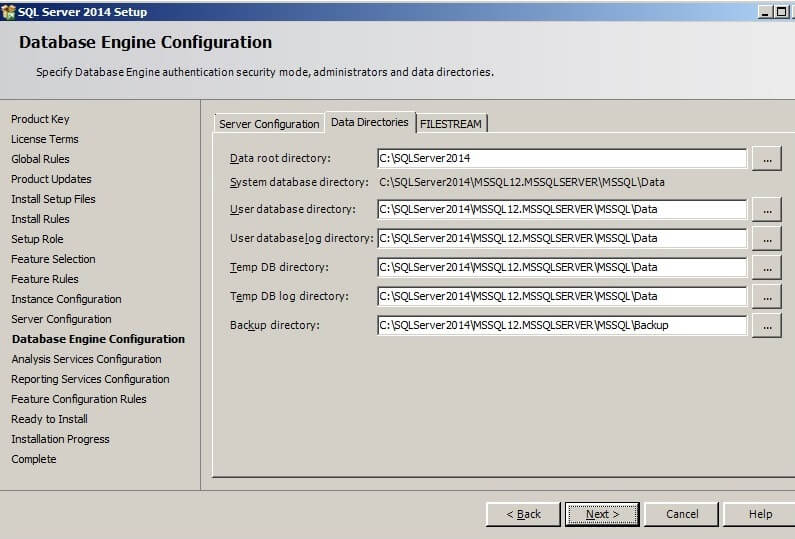 the Database Engine Configuration screen