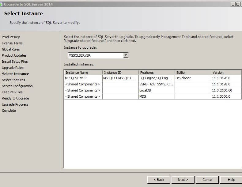 Select the SQL Server instance to modify