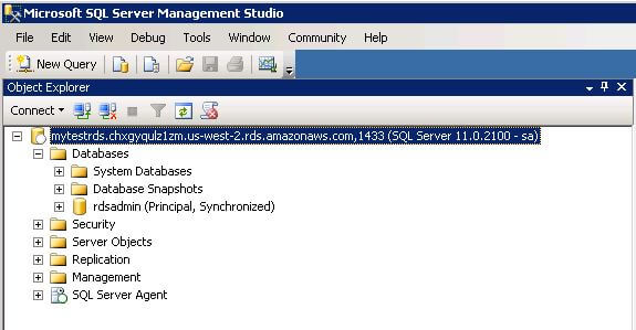 RDS SQL Server Instance Connected from Management Studio