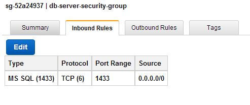 DB Server Security Group - Inbound Rules