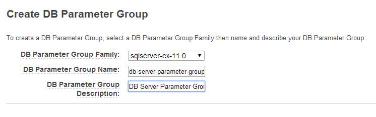 Creating a DB Parameter Group for SQL Server